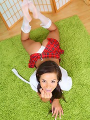 Young 18yo beauty stripping after in schoolgirl dress