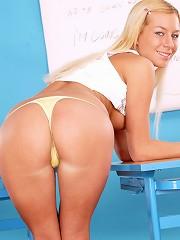 Naughty blonde schoolgirl toying