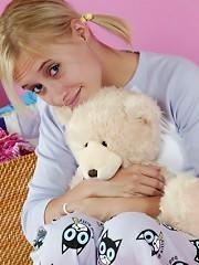 Cute blonde looking sweet in pajamas