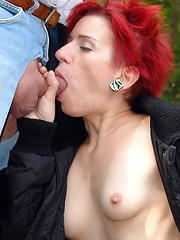Girl gets fucked outdoor by oldie