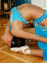 Brunette dances showing off her fit flexible body