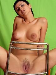 Horny girl with short black hair